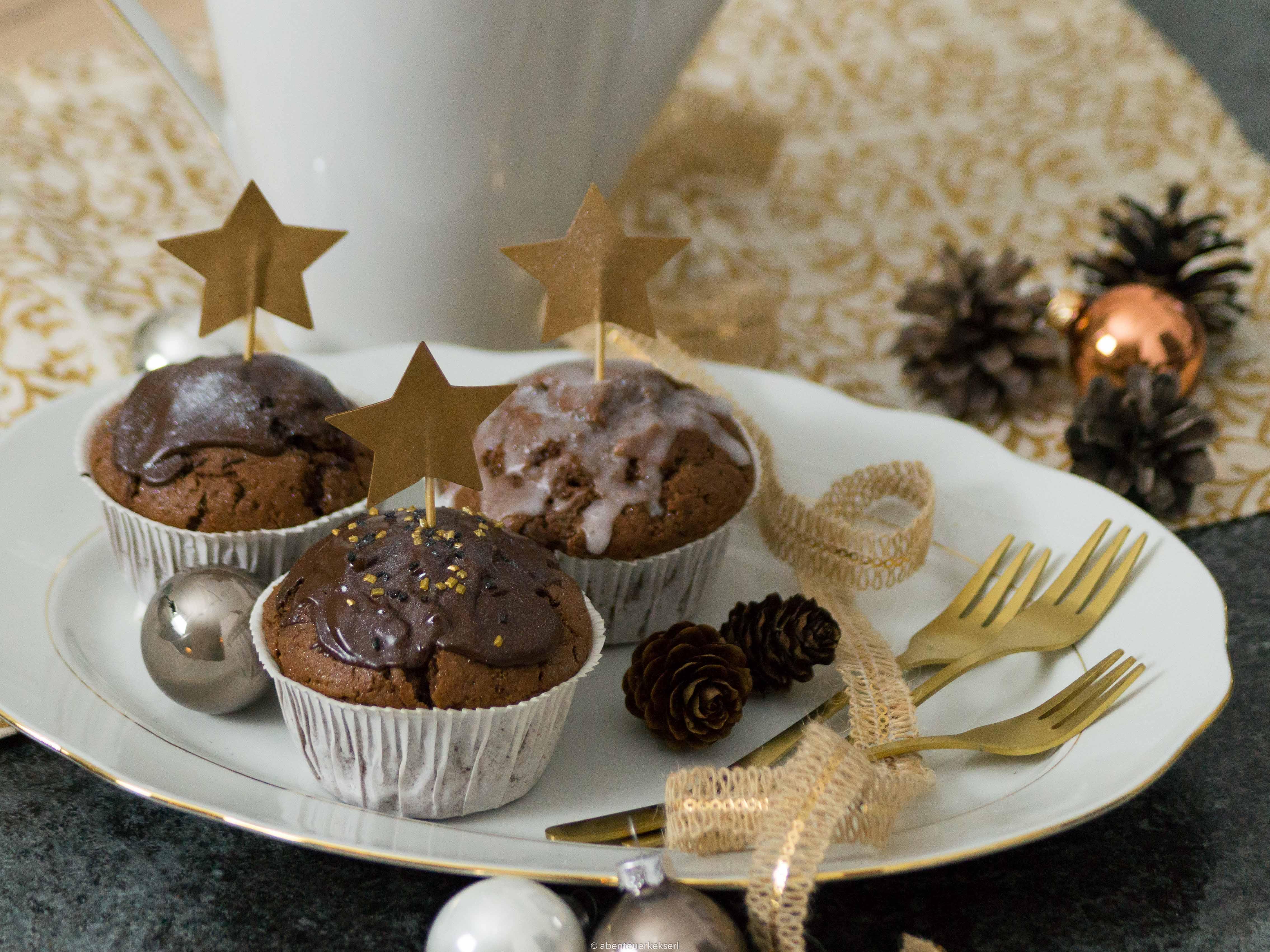 Sternschnuppen Muffins - Lebkuchenmuffins mit essbarem Glitzer