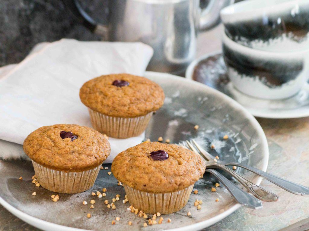 Linzer-Muffins mit Buchweizen, ohne Nüsse